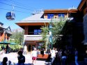 Heavenly lifts in background of Plaza with Wolfgang Puck Express Cafe in South Lake Tahoe, CA